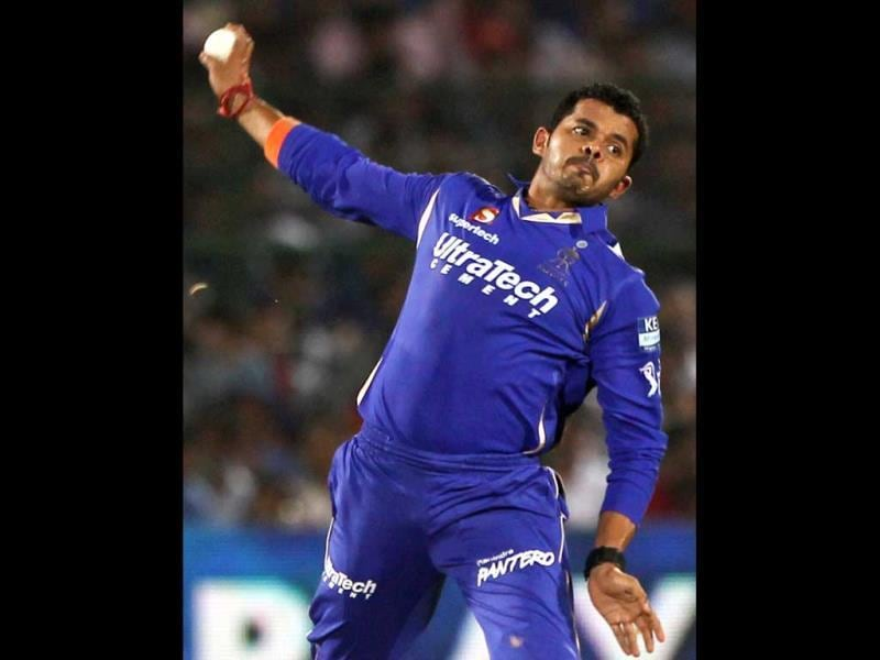 FILE PHOTO: Rajasthan Royals' former player Sreesanth bowls against Kings XI Punjab during a T20 match in Jaipur. PTI photo