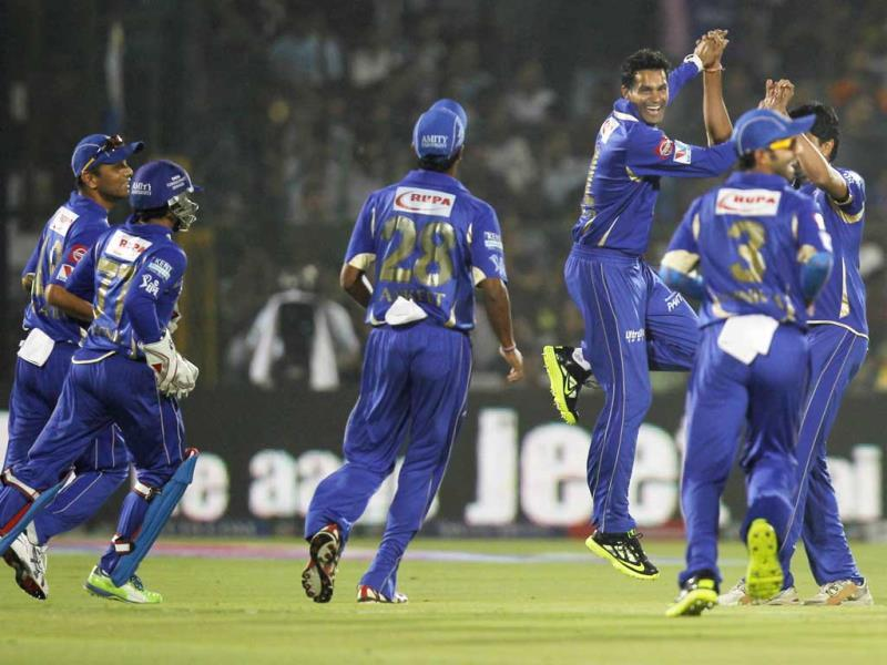 FILE PHOTO: Rajasthan Royals' former player Ajit Chandila celebrates with other teammates after the dismissal of Mumbai Indians captian Ricky Ponting during a T20 league cricket match. HT photo/Ajay Aggarwal