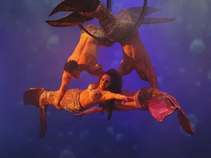 Artists perform during for the media preview of the French Cirque Spectacle 'Mana' in Gurgaon, on the outskirts of New Delhi. AP