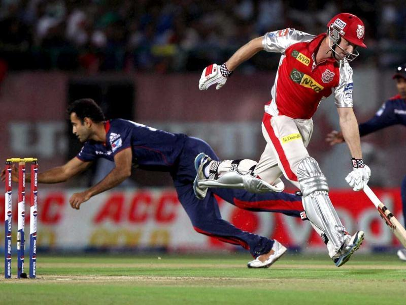 Kings XI Punjab's Shaun Marsh completes a run against Delhi Daredevils during their T20 match in Dharamshala. (PTI)