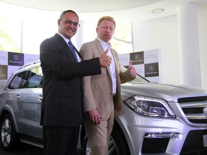 Tennis star Boris Becker (R) and Eberhard Kern (MD and CEO,Mercedes-Benz India) at the unveiled of the Mercedes-Benz flagship store in New Delhi. HT Photo/Virendra Singh Gosain.
