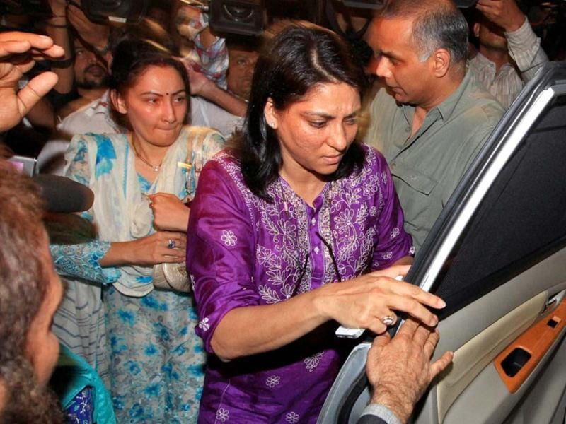 Sanjay Dutt's wife Manyata and sister MP Priya Dutt comes out of the Tada court after meeting Sanjay Dutt in Mumbai on Thursday. (PTI Photo)