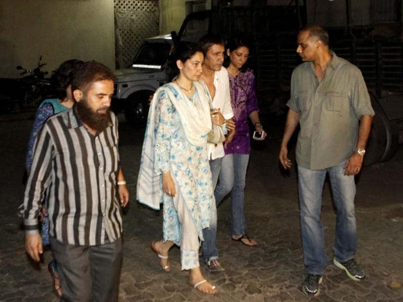 Sanjay Dutt's family outside Tada Court, on May 16, 2013. (Photo by Anshuman Poyrekar/HT)