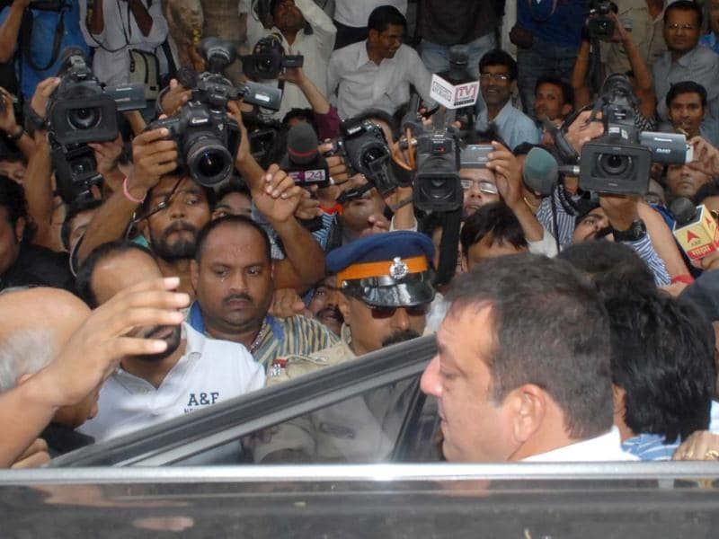 Sanjay Dutt outside Tada Court , just hours before he was sent to Arthur Road Jail. (Photo by Prodip Guha)