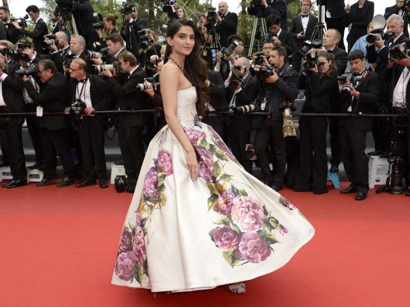 Sonam nails it in a Dolce & Gabbana outfit! Her smile adds to her charm. (AFP Photo)
