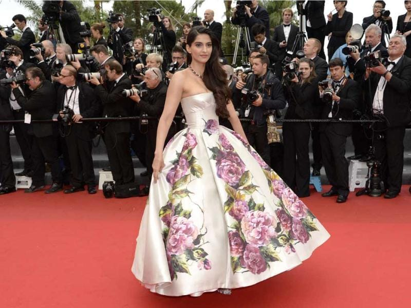 Sonam Kapoor looks like a million bucks in an off-shoulder gown. (AFP Photo)