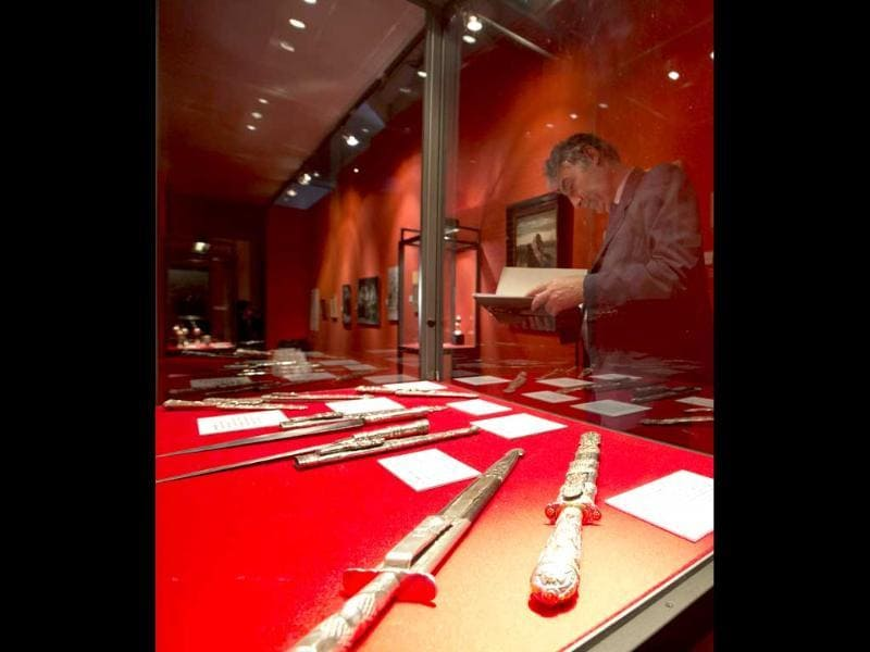 Traditional Argentine facons, knives used by gauchos, are displayed during the unveiling of the exhibition