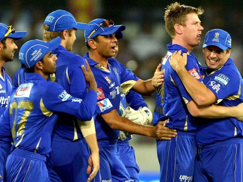 Rajasthan Royals cricketers celebrate the wicket of a Sunrisers Hyderabad batsman during a T20 match in Hyderabad. (PTI)
