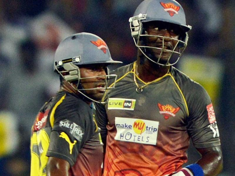 Sunrisers Hyderabad's batsmen Biplab Samantray and Darren Sammy during a T20 match against Rajasthan Royals in Hyderabad. (PTI)