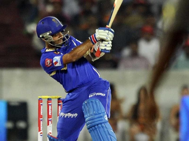 Rajastan Royals player Ajinkya Rahane in action during a T20 match between Sunrisers Hyderabad and Rajastan Royals at the Rajiv Gandhi Cricket Stadium, in Hyderabad. (Satish Bate/HT)