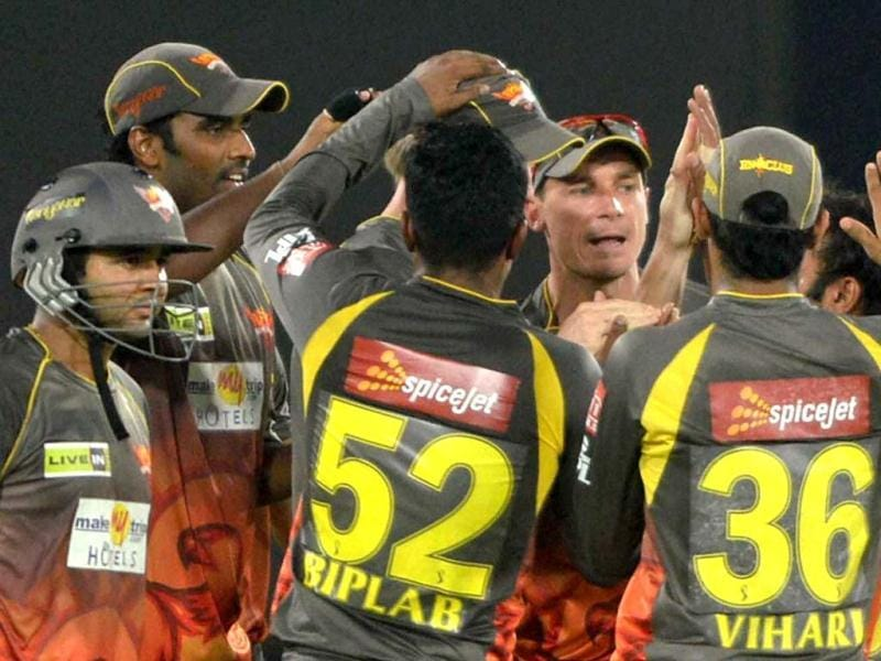 Sunrisers Hyderabad's bowler Dale Steyn celebrates with teammates the dismissal of Rajasthan Royals batsman during a T20 match in Hyderabad. (PTI)