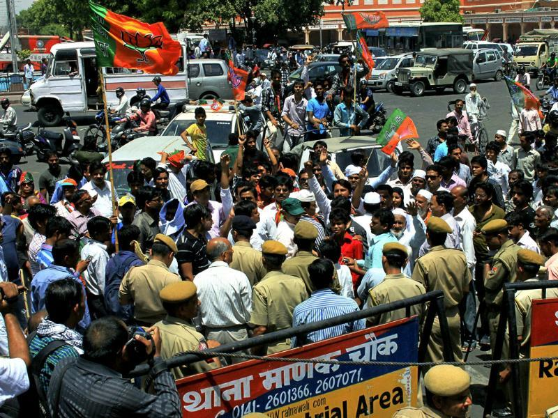 BJP activists protest during Rajasthan bandh in connection with state oppostion leader Gulab Chand Kataria's invovlement in Sohrabuddin Sheikh fake encounter case in Jaipur. PTI