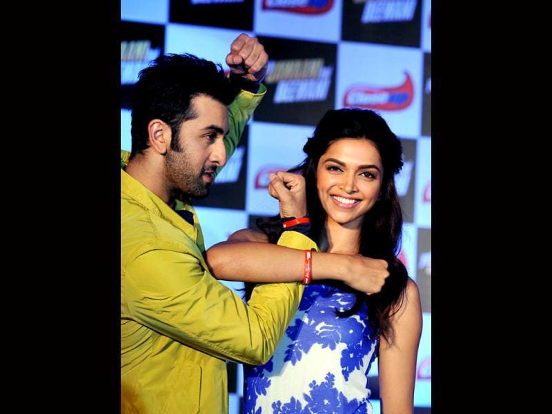 They have dated each other in real life. They are romancing together in an upcoming film. Deepika Padukone and Ranbir Kapoor displayed their best chemistry during a promotional event for Yeh Jawaani Hai Deewani in Mumbai on Friday. (AFP Photo)