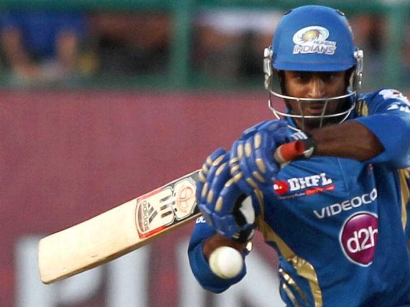 Mumbai Indians' A Raydu plays a shot against Kings XI Punjab during their T20 match in Dharamshala. (PTI)