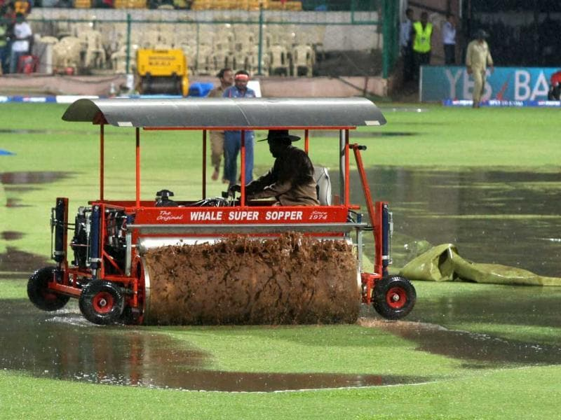 A machine at work before the start of match between Bangalore and Chennai Super Kings at Chinnaswamy stadium in Bangalore. (PTI)