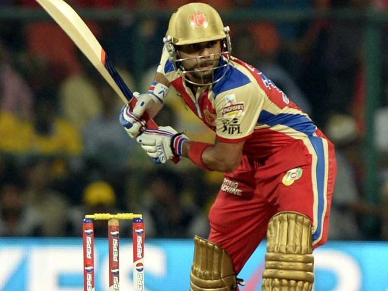 Royal Challengers Bangalore batsman Virat Kohli in action against Chennai Super Kings during the T20 cricket match at M Chinnaswamy Stadium, Bangalore. (Mohd Zakir/HT)