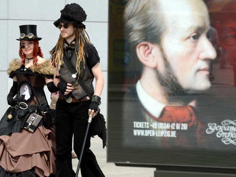 Vsitors of a Wave-Gothic meeting arrive in Leipzig, eastern Germany. Organisers expect some 20,000 visitors from all over the world for the