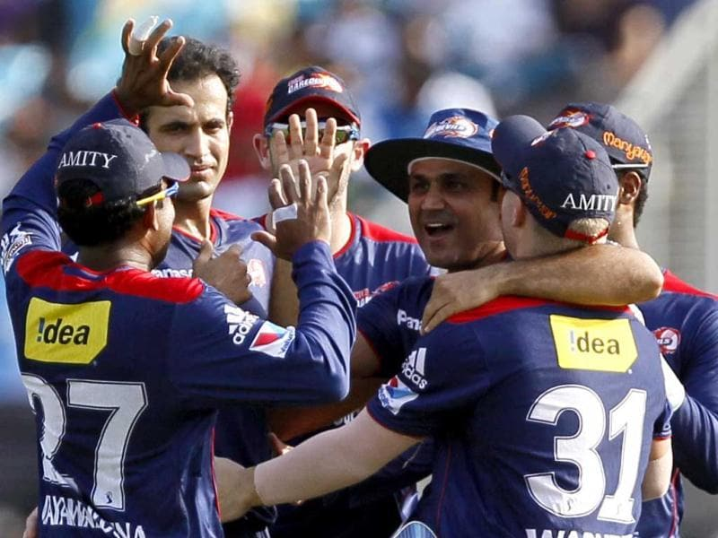 Delhi Daredevils players celebrate the wicket of Pune Warriors India batsman Luke Wright during the T20 cricket match between Pune Warriors India and Delhi Daredevils at Subrata Roy Sahara Stadium in Pune. (Santosh Harhare/HT)