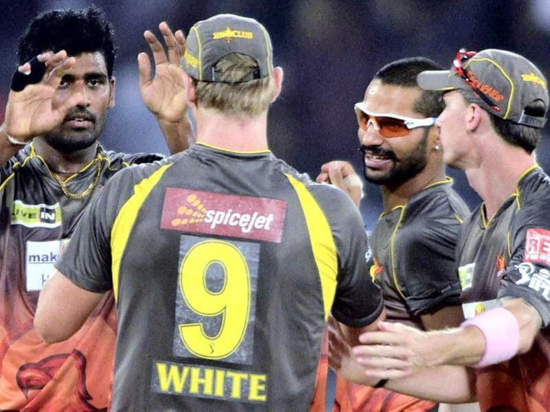Sunrisers Hyderabad players celebrate wicket of Kolkata Knight Riders' MS Bisla during a T20 match in Hyderabad. (PTI)