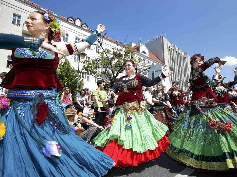 Revellers perform during the Carnival of Cultures, a street parade of Berlin's ethnic minorities, in Berlin. Reuters