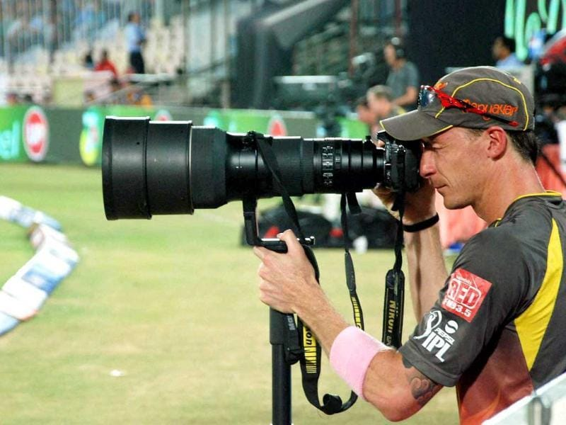Sunrisers Hyderabad's DW Steyn takes picture during a T20 match against Kolkata Knight Riders in Hyderabad. (PTI)