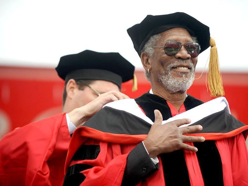 Actor Morgan Freeman receives an honorary degree during the Boston University commencement in Boston. AP