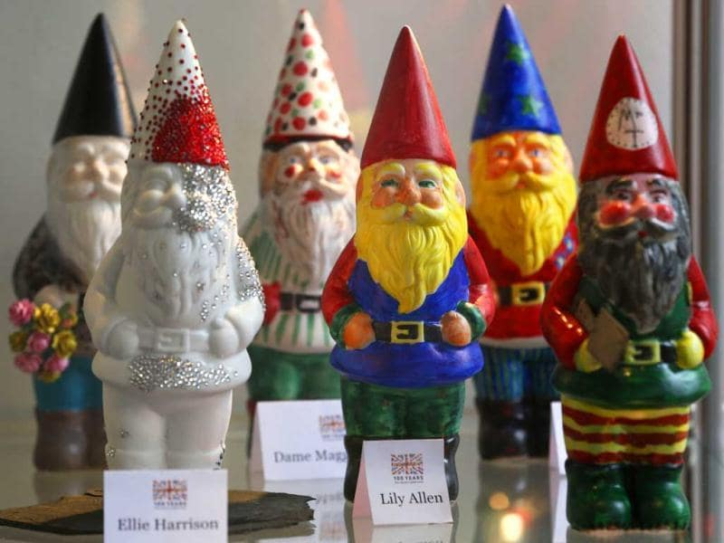 Garden gnomes painted by celebrities are seen on display during the Chelsea Flower Show in London. AP Photo
