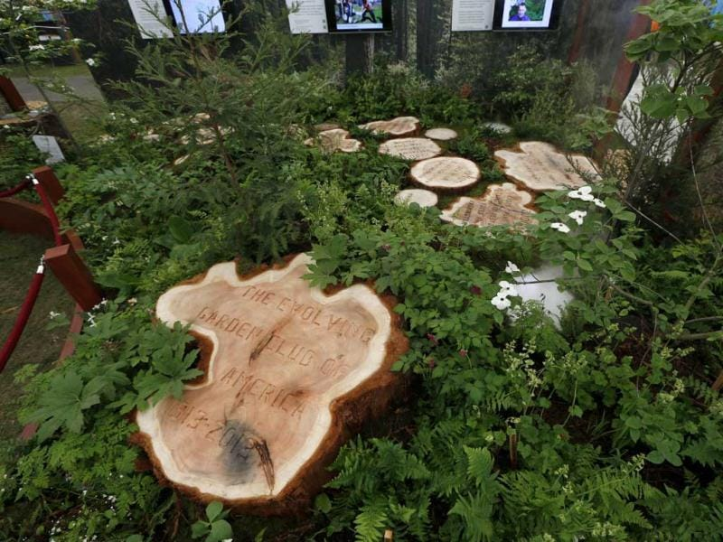 A display stand celebrating 100 years of Garden Club of America is seen during the Chelsea Flower Show in London. AP Photo