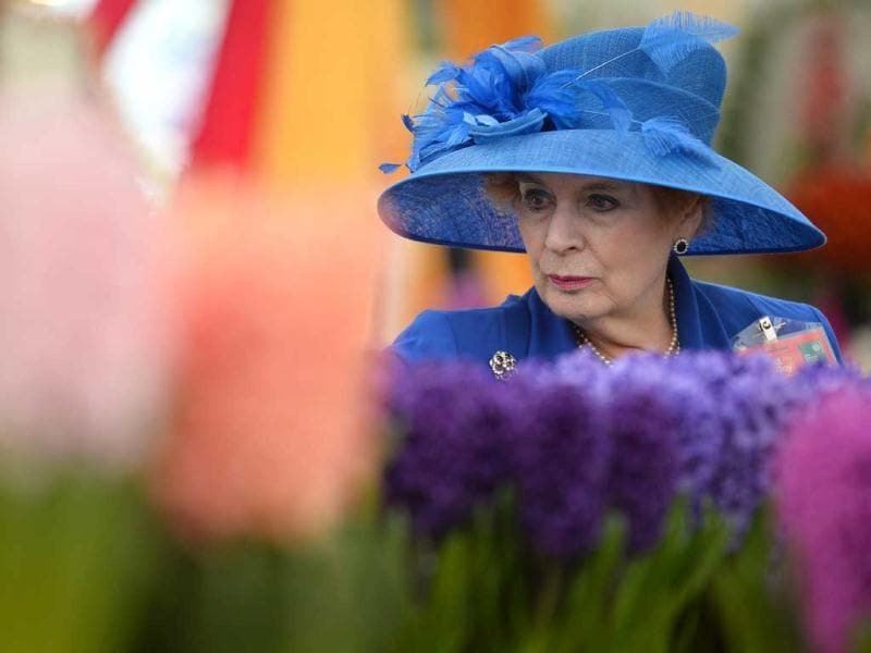 A woman looks at flowers during the Chelsea Flower Show press day in London. AFP Photo