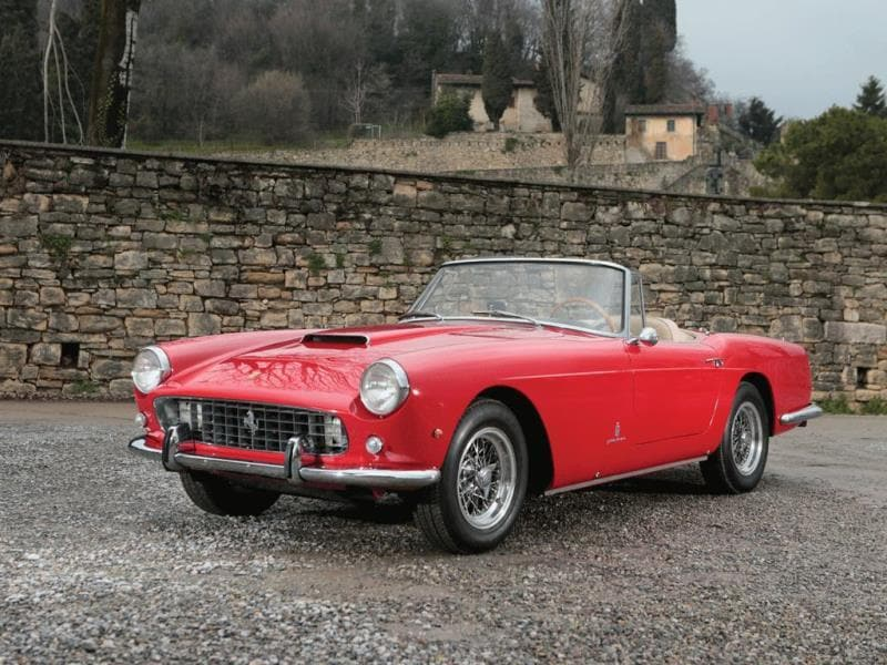 1961 Ferrari 250 GT Series II Cabriolet by Pininfarina : One of only 202 examples built, this 240 bhp, 2,953 cc single overhead camshaft V-12 could fetch €780,000. Photo:AFP