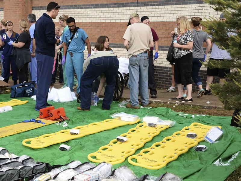 A triage area is set up next to the IMAX theatre for people injured by a tornado that struck in Moore, Oklahoma. Reuters