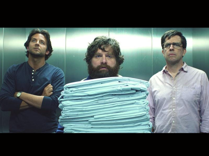 Bradley, Zach and Ed (L-R) in a still from Hangover 3.