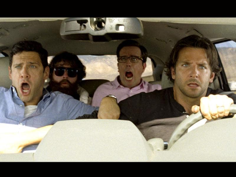 The hangover stars Justin Bartha (L), Zach Galifianakis, Ed Helms and Bradley Cooper (clockwise) in a still from their upcoming film The Hangover Part III.