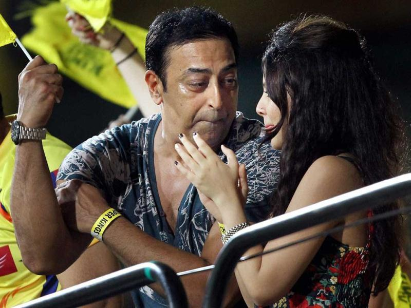 Vindoo Dara Singh is seen with Chennai Super Kings skipper MS Dhoni's wife Sakshi during a T20 match in Chennai in this April 2013 file photo. R Senthil Kumar/PTI