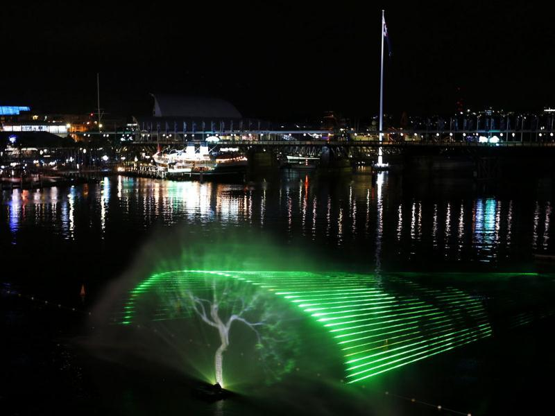 An image of a tree is projected into a water fountain as part of the Aquatique Show International at Darling Harbour in Sydney. (Reuters)