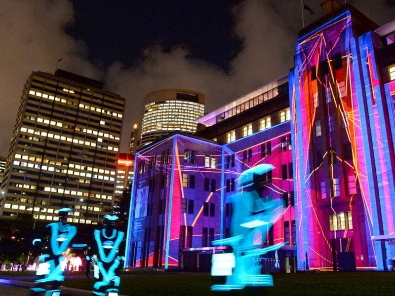 The Museum of Contemporary Art is lit up by a projection as landmarks around the city become part of Sydney's annual festival of light, music and ideas. (AFP)