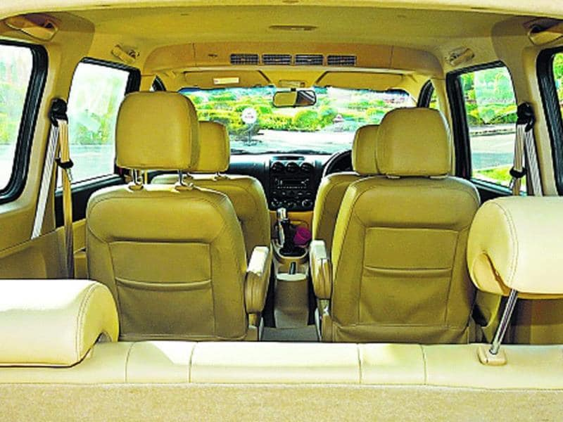 The Enjoy is not bad looking, but the interiors are rather tacky, and look, no armrests in the front row. But even chauffeurs have arms.