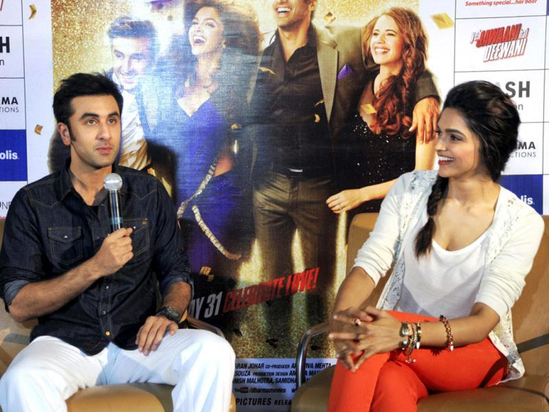 Bollywood actors Ranbir Kapoor and Deepika Padukone promote their film Yeh Jawaani Hai Deewani during a press conference in Ahmedabad on Saturday. (PTI Photo)