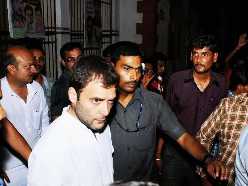 Congress Vice-President Rahul Gandhi at Congress bhavan in Raipur. PTI Photo