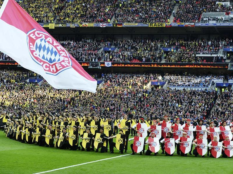 Performers dressed as medieval soldiers pose during the opening ceremony for the UEFA Champions League final football match between Borussia Dortmund and Bayern Munich at Wembley Stadium in London. AFP