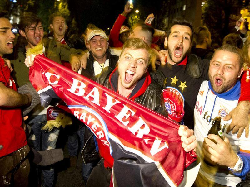 Supporters of Germany's Bayern Munich celebrate in Munich. (AP)