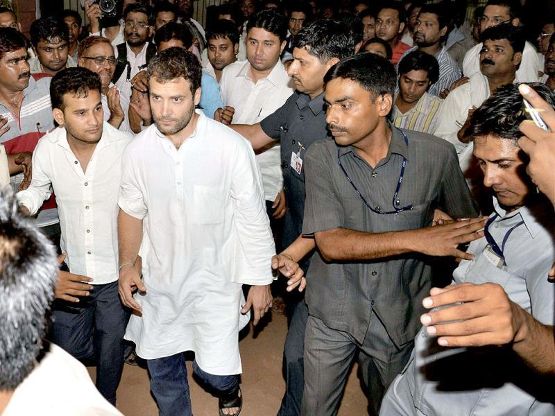 Congress vice president Rahul Gandhi arrives to meet injured persons at a hospital in Raipur . PTI Photo
