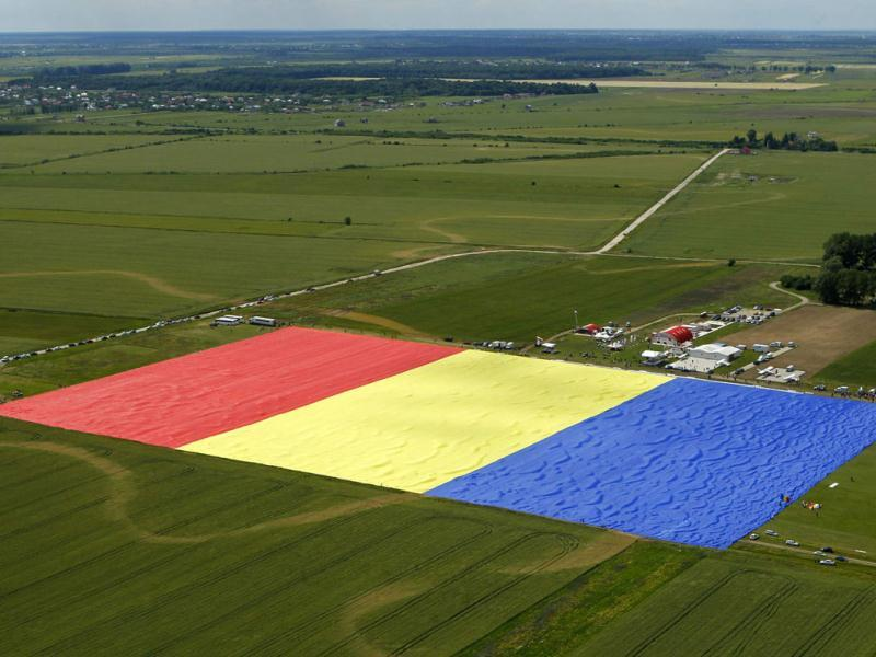 An aerial view of Romania's national flag during a Guinness World Record attempt for the world's biggest national flag in Clinceni, near Bucharest. The flag, measuring 349.4 per 226.9 meters, established a new Guinness World Record, according to the organisation's officials. (Reuters)