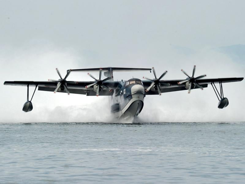 This handout picture released by Japan Martime Self-Defense Force (JMSDF) shows the JMSDF amphibious plane US-2. Japan is close to signing an agreement to supply the amphibious planes to India, in what would be the first sale of hardware used by the military since a weapons export ban was imposed. AFP photo