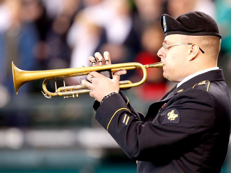 A member of the US military plays