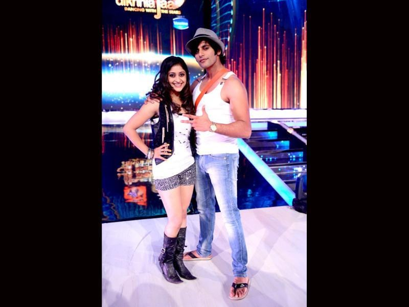 Karanvir Bohra with his choreographer Sneha on Jhalak Dikhhla Jaa.