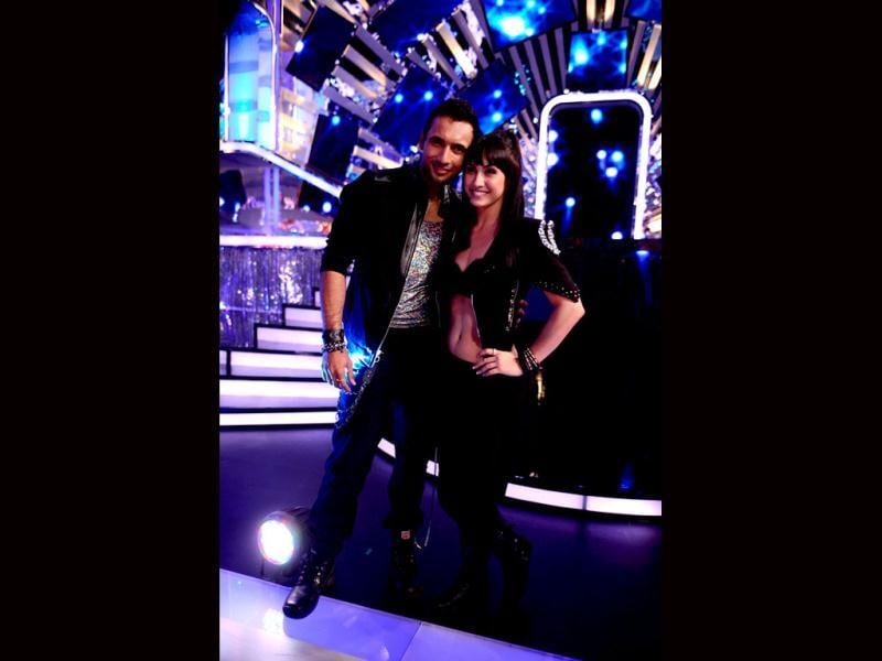 Lauren Gottlieb with her choreographer Punit on sets of Jhalak Dikhhla Jaa.