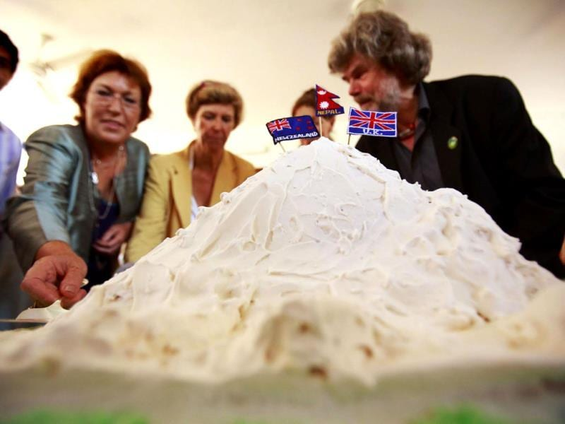 A cake in the shape of Mount Everest is pictured during a program organized at the British Embassy of Nepal to mark the 60th anniversary of Sir Edmund Hillary and Tenzing Norgay Sherpa's conquest of Mount Everest in Kathmandu. REUTERS