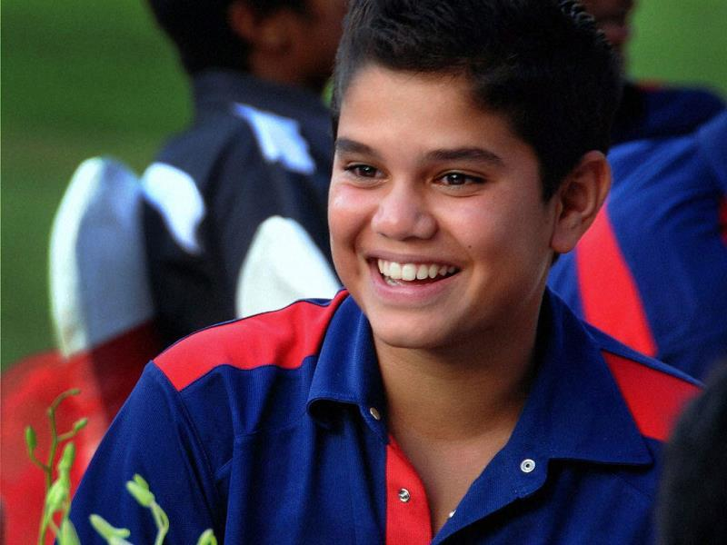 Master Blaster Sachin Tendulkar's son Arjun during the Mumbai Cricket Association's annual prize distribution function at Wankhede Stadium in Mumbai. PTI photo