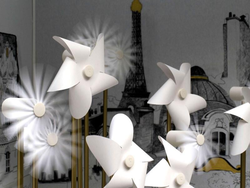 This picture shows fans and windmills by Francis Kurkdjian at the Grand Palais in Paris, two days before the opening of an exhibition. (AFP)